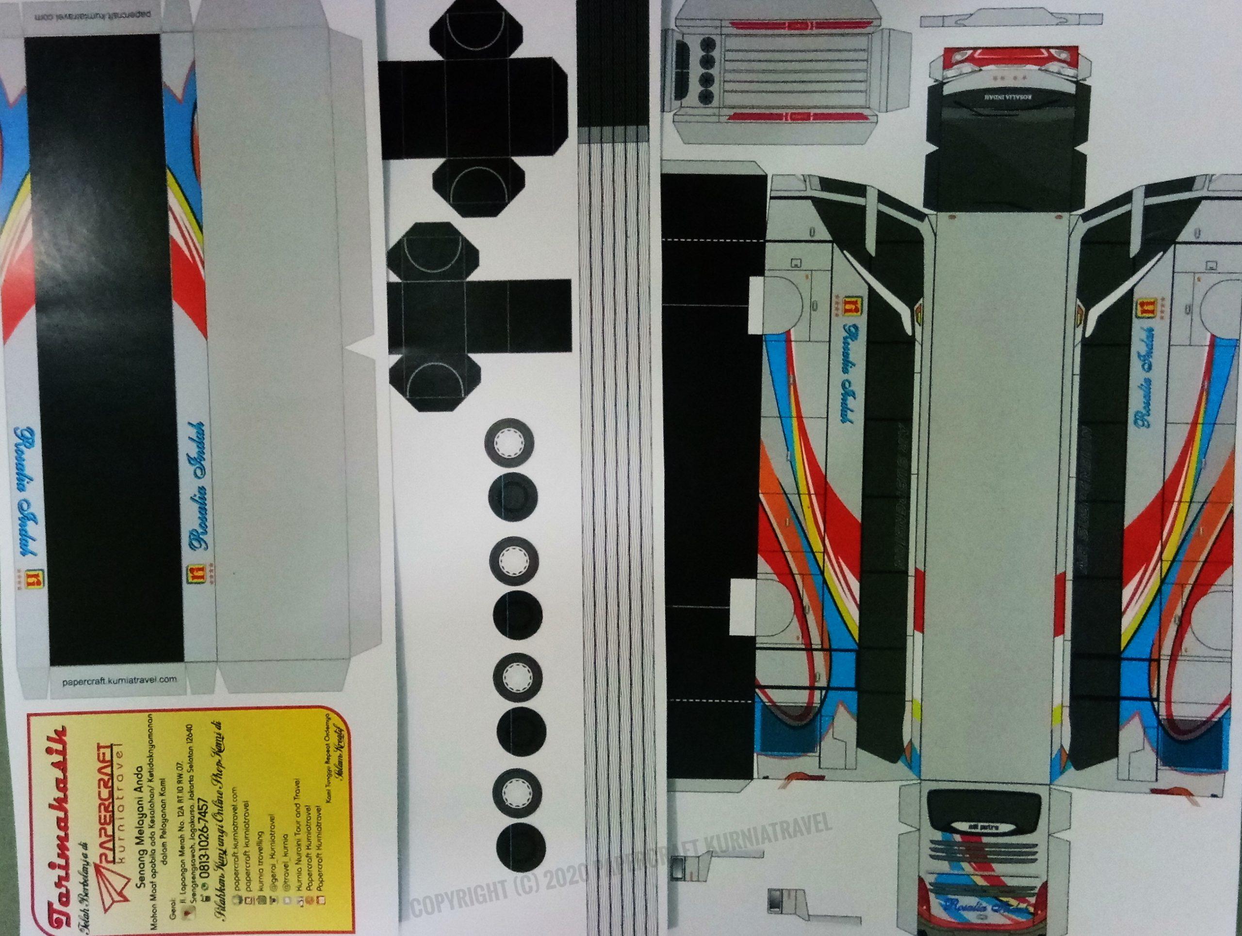 Pola Papercraft Bus Rosalia Indah Skala 64 - Papercraft ...